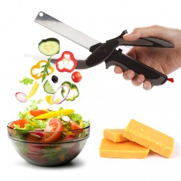 2 In 1 Multi-Function Kitchen Scissors Cutter Knife and Board Stainless Steel Kitchen Knives Meat Potato Cheese Vegetable Cutter