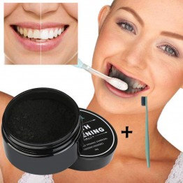 Nature Activated Charcoal Teeth Whitening Powder Coffee Tea Stains of Smoking Removal Deeply Cleaning Oral Hygiene Care Natural Organic Activated Charcoal Bamboo Toothpaste BUY1-GET1