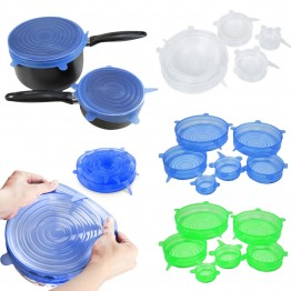 6PCS/Set Universal Silicone Suction Lids Covers Stretch Suction Covers Cooking Pot Pan Silicone Cover Pan Spill Lid Stopper Home Bowl Cover
