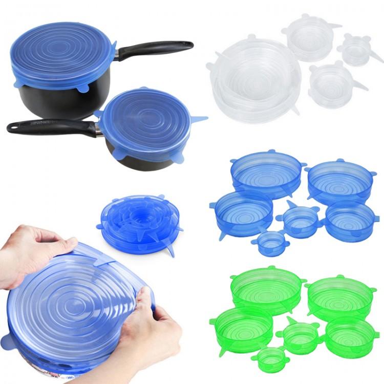 6PCS Silicone Stretch Suction Pot Lids Kitchen Cover Pan Bowl Stopper Universal