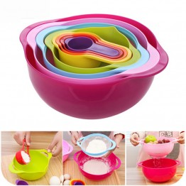 8PCS/SET Multifunctional Rainbow Color Measuring Spoon Mixing Salad Bowl Baking Measure Cup Set Cooking Tool Sets Kitchen Gadget