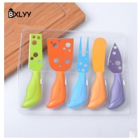 Multi Color Butter Cheese Knives Set - BXLYY 5Pc / Set Multicolor Cheese Knife Stainless Steel Cheese Fork Kitchen Cooking Gadget Cheese Grater Christmas Home Decor.9z