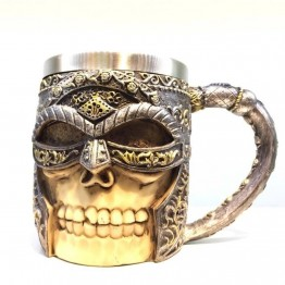 3D Stainless Steel Mugs - GODWJ Mug 3D Creative Resin Stainless Steel Heat Resistant Skull Mug Wolf Head Water Coffee Tea Cup Halloween Gift Drinking Mug