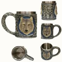 3D Stainless Steel Mugs - GODWJ Mug 3D Creative Resin Stainless Steel Heat Resistant Skull Mug Wolf Head Water Coffee Tea Cup Halloween Gift Drinking Mug