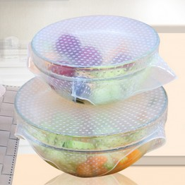 Reusable Silicone Saran Wrap 4pcs/set Food Fresh Keeping Saran Wrap Reusable Silicone Food Wraps Seal Vacuum Cover Lid Stretch BUY1-GET1 SET