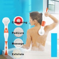 Upgraded Version 4 in 1 Spin Body Back Foot Scrubber With Long Handle Exfoliating Electric Massage Shower Brush Bath