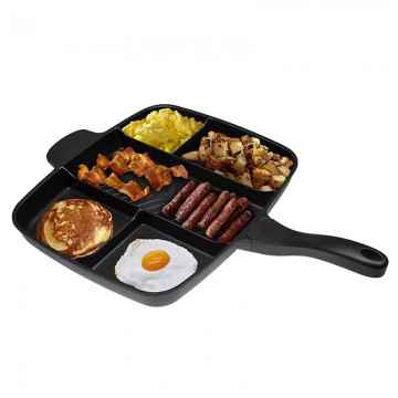 "5 in 1 Master Pan Wholesale Fryer Pan Non-Stick 5 in 1 Fry Pan Divided Grill Fry Oven Meal Skillet 15"" Black"