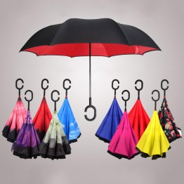 Windproof Reverse Folding Umbrella Double Layers Inverted Self Stand Inside Out Rain Protection C-Hook Hands HG99