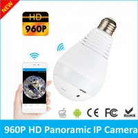 Fisheye Lens Wi-Fi Panoramic Camera Bulb Light Wireless IP Camera Wi-fi FishEye 960p 360 degree Mini CCTV VR Camera 1.3MP Home Security System V380