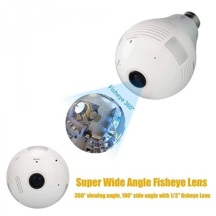Fisheye Lens Wi-Fi Panoramic Camera Bulb Light Wireless IP Camera Wi