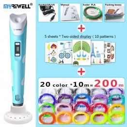 Amazing 3D Printing Pen - myriwell 3d pen 3d pens,LED display,ABS/PLA Filament,3 d pen Add special brackets to protect hands, 3d printed pen Gift for Kids